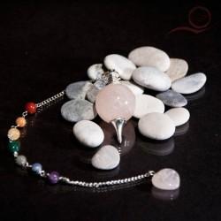 Pendule en quartz rose 7 chakras