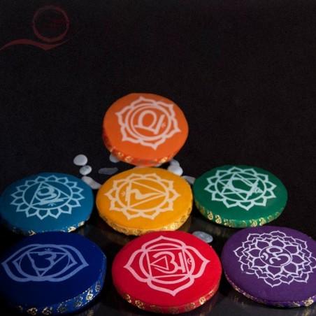 Coussins ronds, chakras, 9 cm