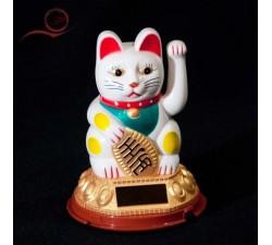 Maneki Neko cat with golden arm, white