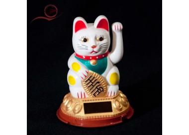 Maneki Neko, blanc, bras articulés