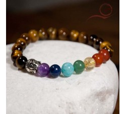 Bracelet, tiger eye beads, 7 chakras