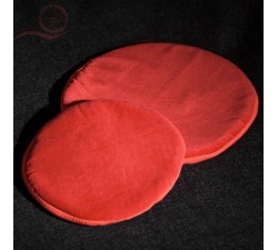 Coussin rond velours rouge, bol tibétain