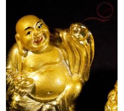 3 mini bouddhas rieurs couleur or