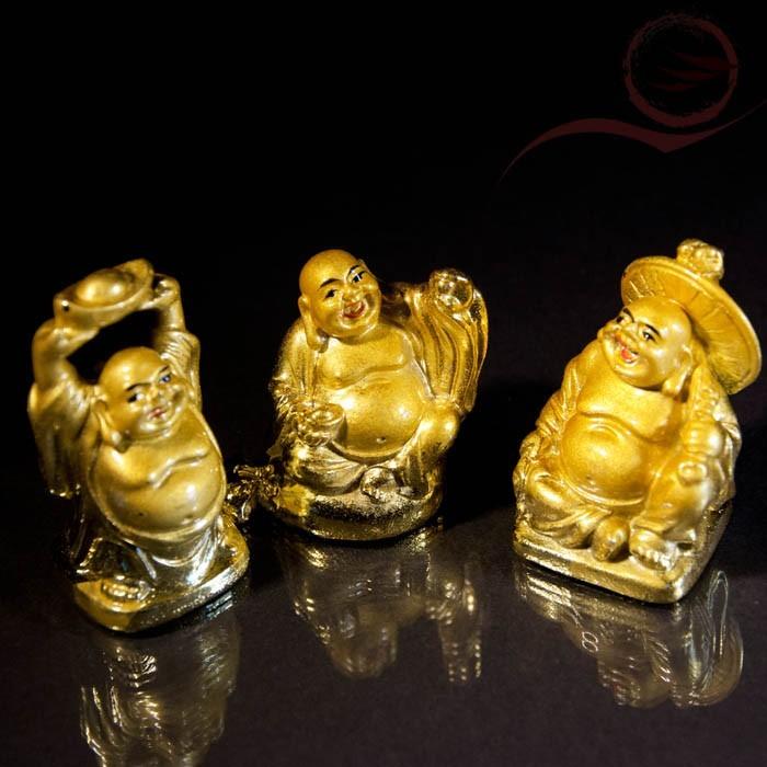 3 mini bouddhas rieurs 5cm