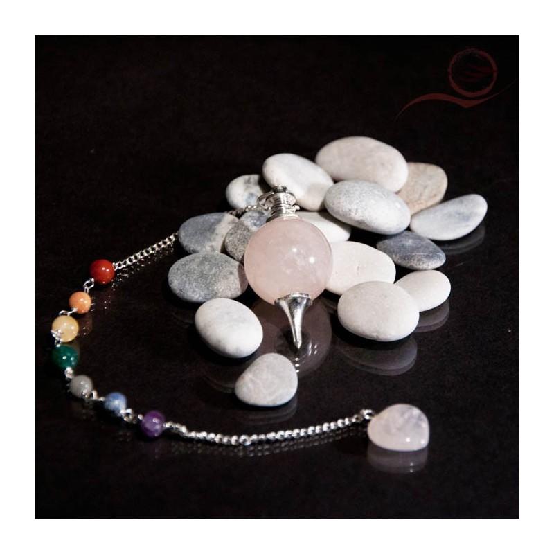 Pendule quartz rose, boule 7 chakras