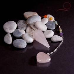 Pendule en quartz rose facette et chakras