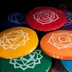 Coussins ronds, chakras, 15 cm