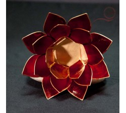 lotus candle holder red