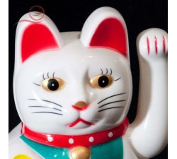 Maneki Neko cat with golden arm, white