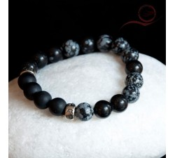 obsidian brooch and onyx bracelet