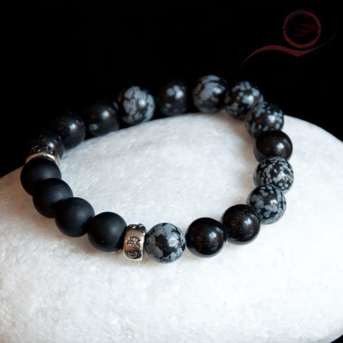 Bracelet en obsidienne et onyx