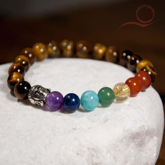 Bracelet, tiger eye beads, 7 chakras