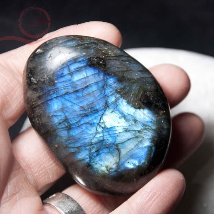 Very beautiful pebble in labradorite