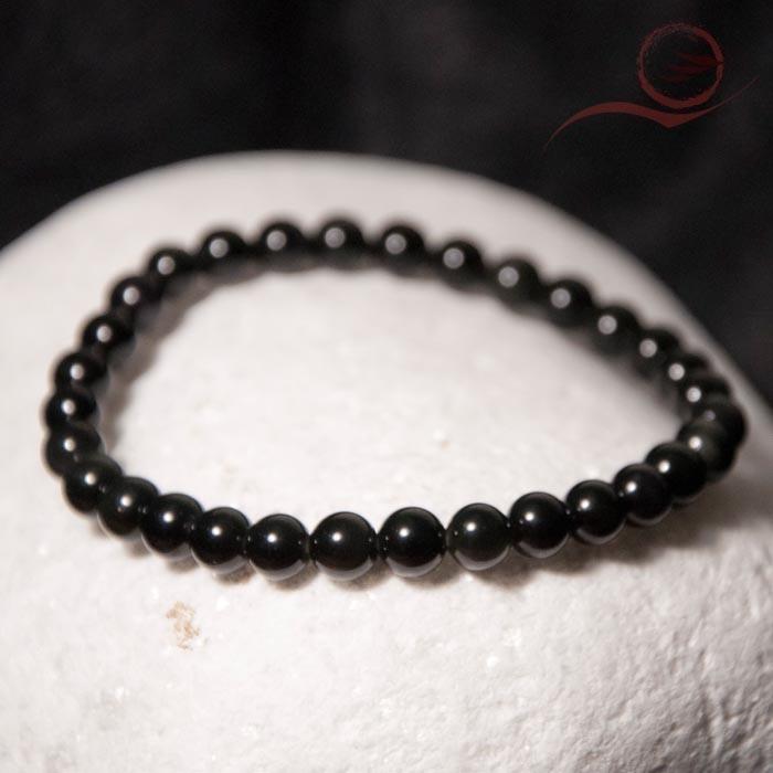 Bracelet en obsidienne oeil celeste, 6mm