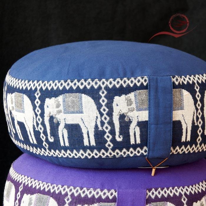 Coussin méditation, bleu éléphants