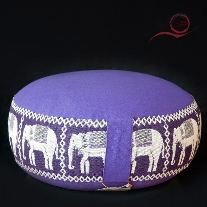 Coussin méditation, éléphants mauve