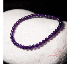 Bracelet, Amethyst Beads, 4mm