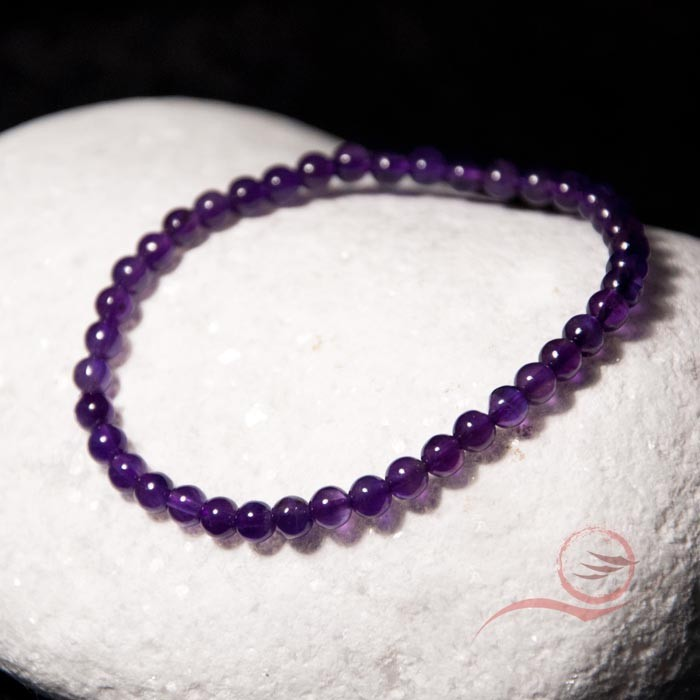 Bracelet, en perles améthyste, 4mm
