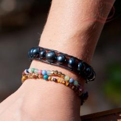Bracelet cuir et pierres