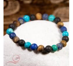 bracelets 4 pierres, turquoise, lave, oeil de tigre, lapi lazuli