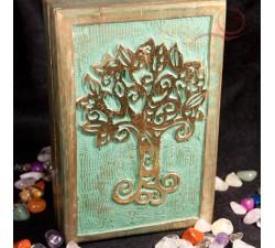 Boite bois, rectangle, arbre de vie