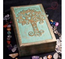 boite rectangulaire arbre de vie en bois