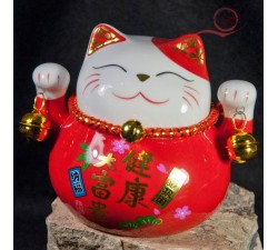 Chat maneki neko rouge, en ceramique à lyon