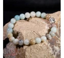 bracelet en amazonite avec une tête de bouddha