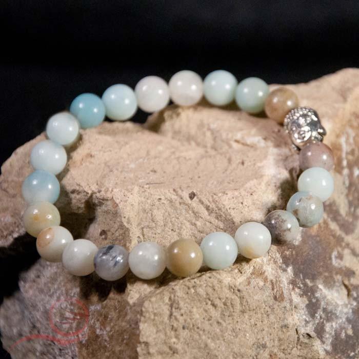 Bracelet, amazonite et bouddha