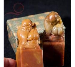 Pierre à sceau chinois sculpté lao tseu