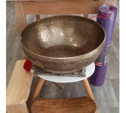 grand bol tibétain de 50 cm, gravé avec les pieds, lyon