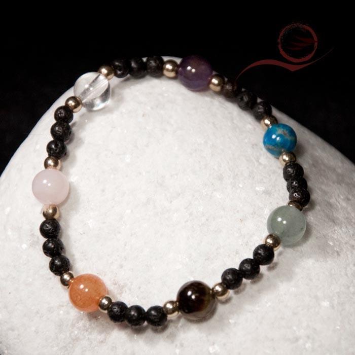 Bracelet, 7 chakras et lave