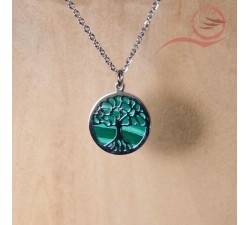 Steel and malachite tree of life pendant