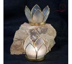Petit bougeoir lotus blanc