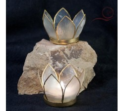 Small white lotus candle holder
