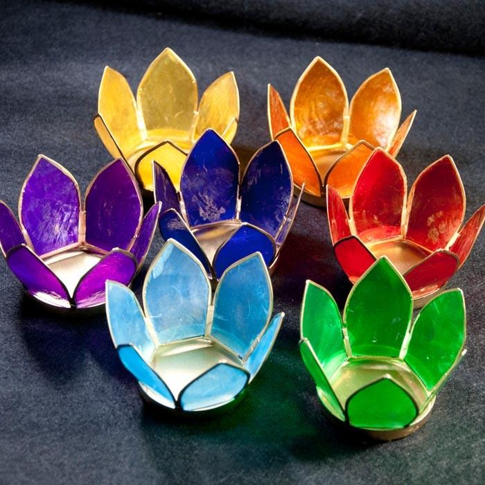 Bougeoirs lotus 7 chakras