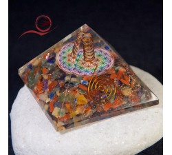 Orgonite flower of life pyramid and chakras
