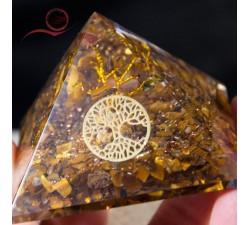 pyramide orgone avec la pierre oeil de tigre et arbre de vie