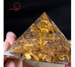 orgone pyramid with tiger eye stone and tree of life