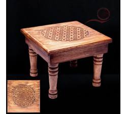 table en bois de manguier avec la fleur de vie