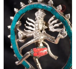 Silver and turquoise Shiva statue
