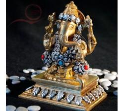 Statue Ganesh, argenté et turqoise