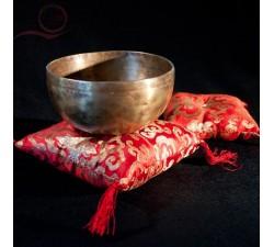 Coussins pour bols tibetains lotus rouge